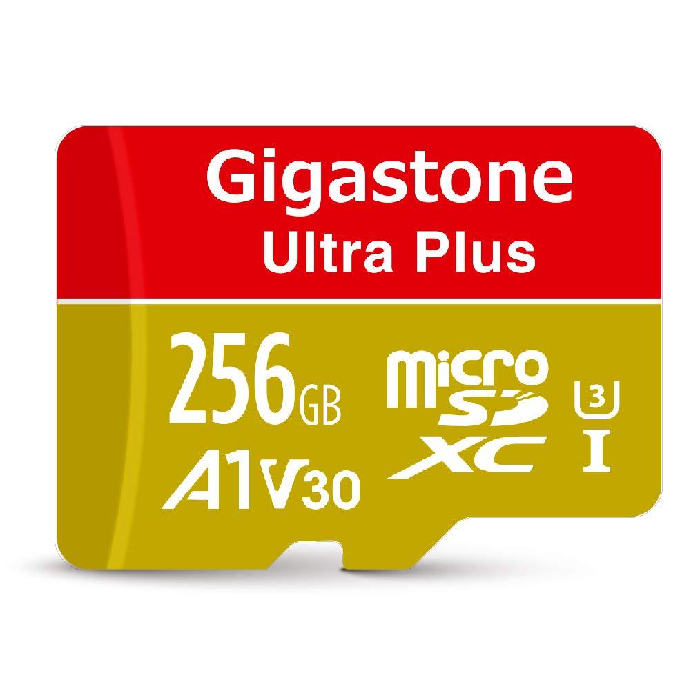 Gigastone 256GB Micro SD Card MicroSD A1 V30 UHS-I U3 C10, Run App for Smart Phone, UHD 4K Video Recording, 4K Gaming, Read/Write 100/80 MB/s, Nintendo Dashcam Gopro Canon Nikon Camera Samsung Drone