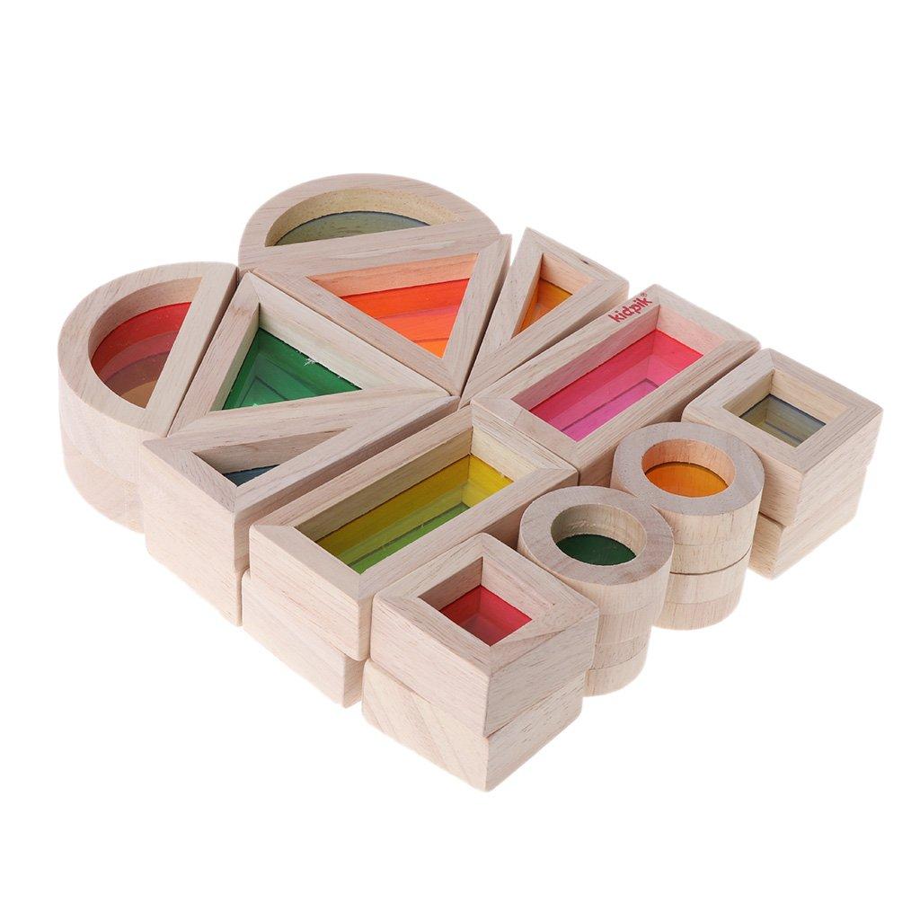 JERKKY Rainbow Acrylic Wooden Building Blocks Baby Educational Toy Montessori Kids toy