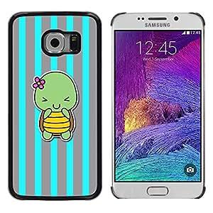Be Good Phone Accessory // Dura Cáscara cubierta Protectora Caso Carcasa Funda de Protección para Samsung Galaxy S6 EDGE SM-G925 // blue turtle cute cartoon grey lines