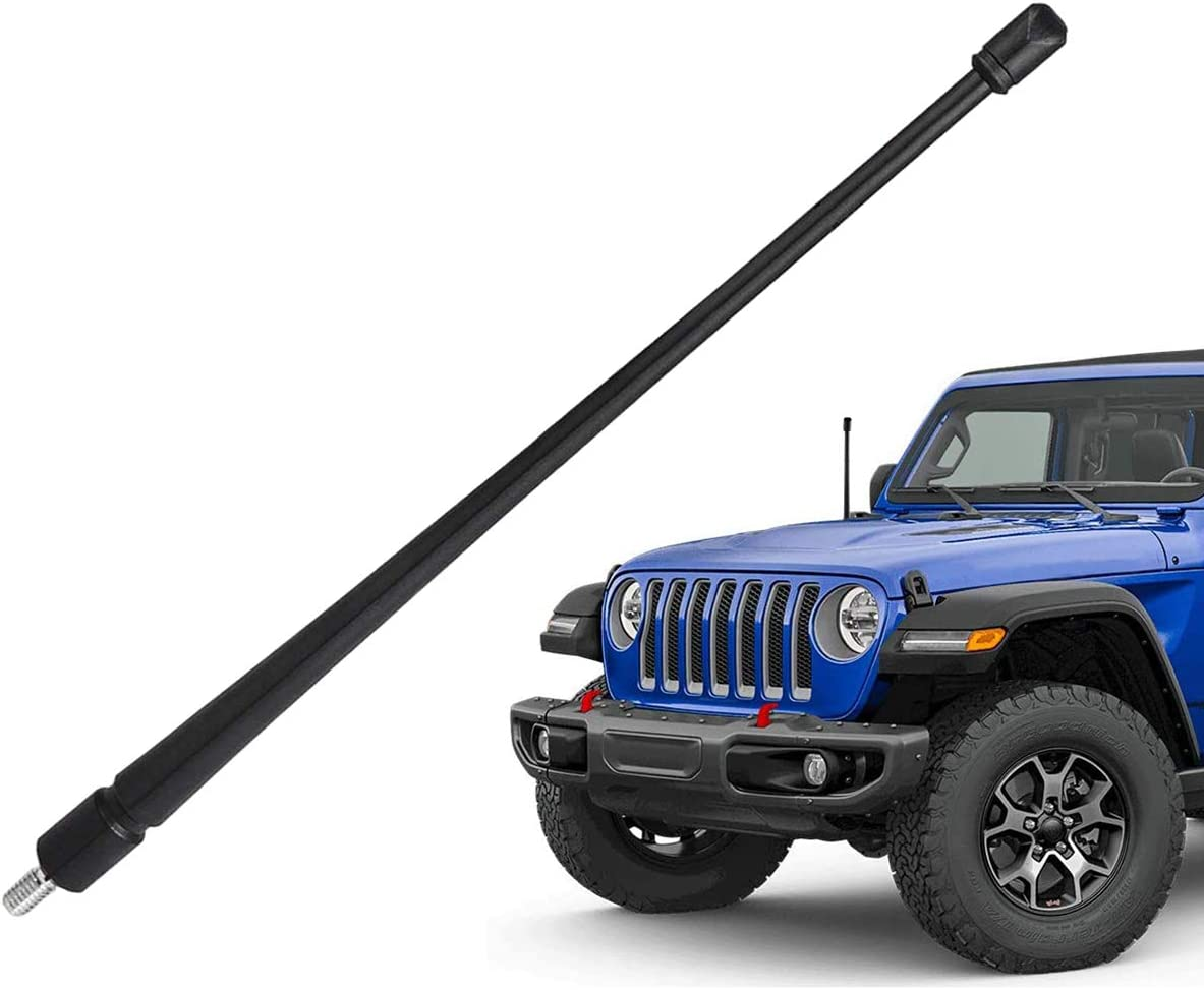 Antenna Compatible with Jeep Wrangler JK JKU Rubicon Sahara 2007-2020 All-Weather//All Terrain 13 inches//13 Flexible Rubber Antenna Replacement Designed Optimized FM//AM Reception JK Antenna