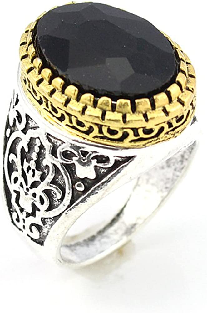 HIGH STONE BLACK QUARTZ FASHION JEWELRY SILVER PLATED AND BRASS RING 9 S22911