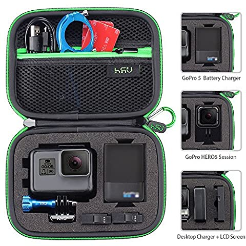 Carrying Case for GoPro Hero 5, 4, Black, Silver, 3+, 3 and Accessories,HSU Protective Security Bag, Storage Solution for Adventurers-UPGRADED INTERIOR (Gopro Case And Accessories)
