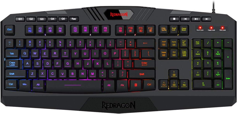 Redragon Harpe Pro K503A-RGB Teclado gaming Español - Teclado para juegos USB ligero, duradero, resistente al agua, ergonómico, silencioso - Teclado gamer con cable para PC - Negro
