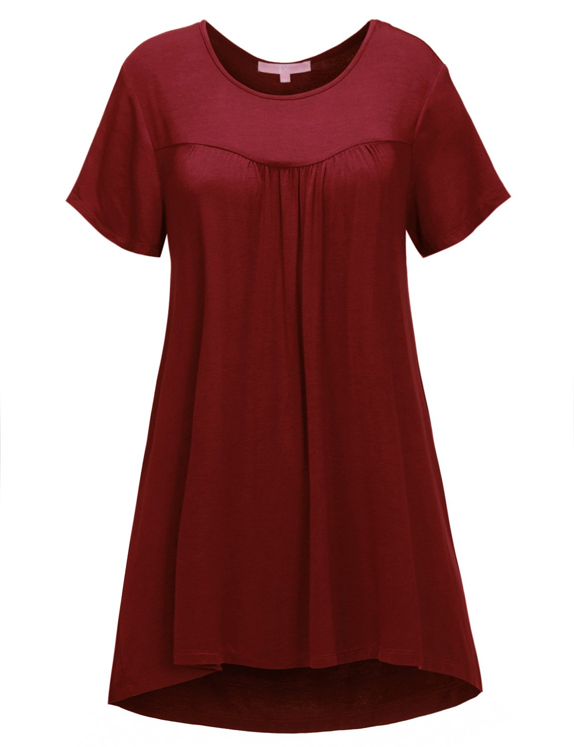 Regna X Women's Short Sleeve Round Neck Maternity Loose fit Tunic Shirt Wine 3XL