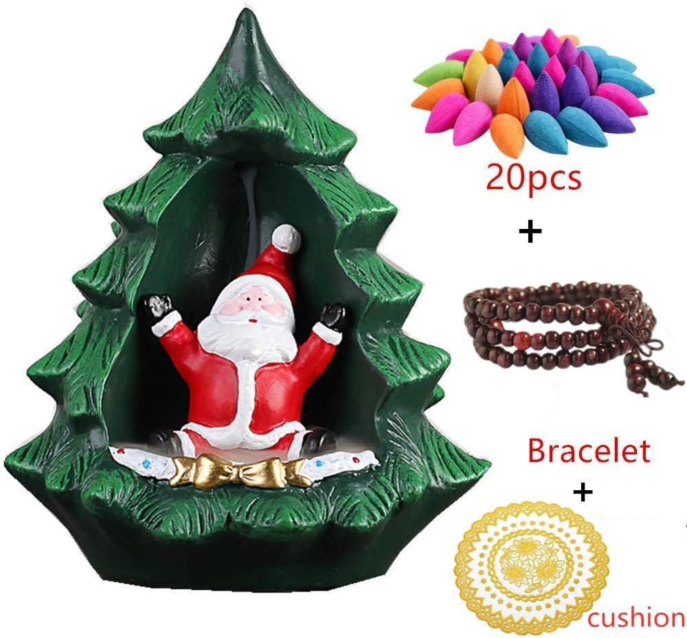 Christmas Tree Santa Claus Backflow Incense Burner Waterfall Incense Burner Incense Burner Holder Incense Stick Holder Incense Ash Catcher (Red)