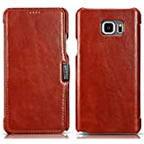 Note 5 Case,PERSTAR [Vintage Classic Series] [Genuine Leather] Flip Cover Folio Case, [1 Card Slot] with Magnetic Closure for Samsung Galaxy Note 5 (Vintage Brown)