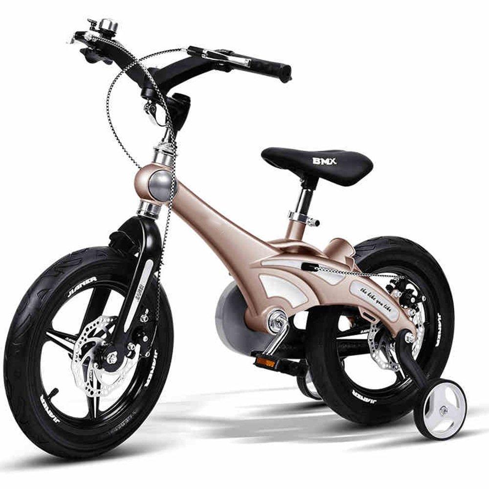YANGFEI 子ども用自転車 12インチの子供の自転車女子の少年赤ちゃんのバイク2-5歳の自転車ベビーカーの自転車 212歳 B07DWRSKP2 ゴールド ゴールド