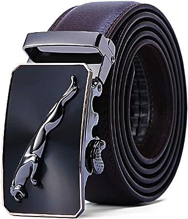Dante Hombre Cintur/ón Formal y de Negocios Mens Belt Cuero PU Cintur/ón Hombre Cinturones Piel con Jaguar Hebilla Autom/ática Moda Cintura Correa Adecuado para Uso Informal