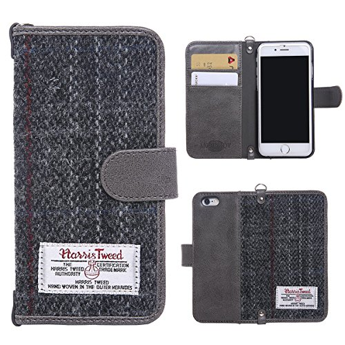 iPhone 7 Wallet Case iPhone 8 Folio Case, MONOJOY Harris Tweed Handmade Flip Case Book Cover with Credit Card Slots,[Pure Scottish Wool] Magnetic Closure for Apple iPhone 7/iPhone 8 (4.7