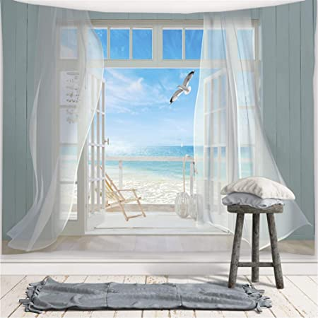 Decoration Tapestry Door curtain Velvet Sea Scenery Print Wall Hanging