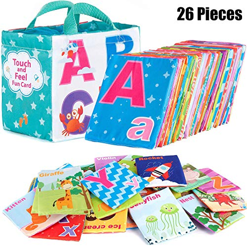 Alphabet Baby Clothes (Mini Tudou 26pcs Soft Alphabet Cards Educational Preschool Baby Learning Activity Toy for Kids Toddlers with Cloth Storage Bag)