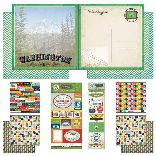 - Scrapbook Customs Themed Paper and Stickers Scrapbook Kit, Washington Vintage