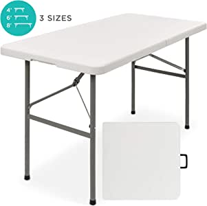 Best Choice Products 4ft Indoor Outdoor Heavy Duty Portable Folding Plastic Dining Table w/Handle, Lock for Picnic, Party, Camping - White