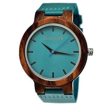 Analog Holz Herren Holzwerk Handgefertigte Quarz Blau Germany® Leder Damen Uhr Natur Armband Klassisch Öko In Türkis Designer xrCdBoeW