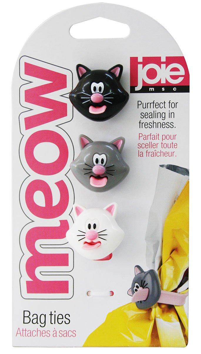 Joie Kitchen Gadgets 067742-124159 Meow Bag Ties, Plastic, White/Black/Grey