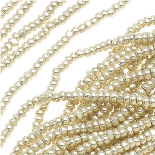 Czech Single Cut Charlotte Seed Beads 13/0 Metallic Silver Terra 1/2 (Charlotte Cut Seed Beads)