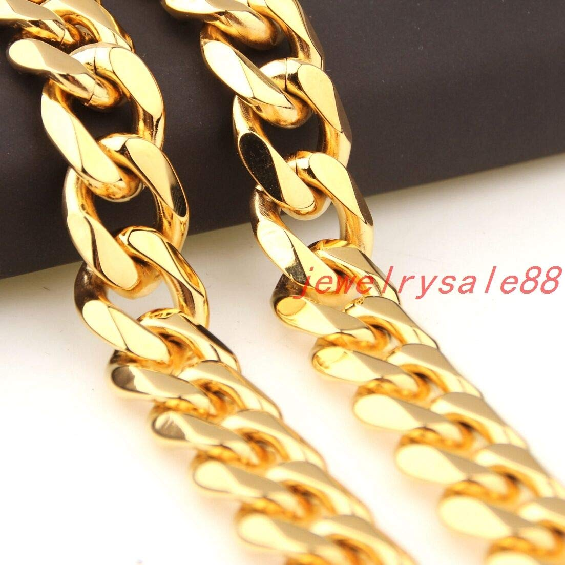 FidgetKute 5~19mm Popular Mens Stainless Steel Curb Link Chain Necklace Gold Tone 7-40 15mm 11inch or28cm