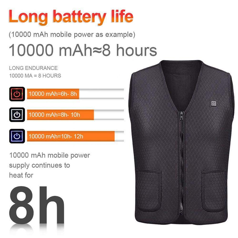 Men /& Women Washable Heated Clothes Vest with 3 Temperature Womdee Electric Heated Vest USB Rechargeable Heating Body Warmer Gilet Electric Jacket for Outdoor Sports Fishing Motorcycle