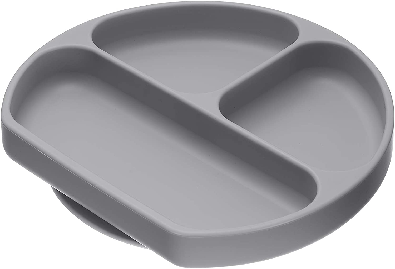 Sillyplates Silicone Grip Dish - Suction Baby Food Bowl for Placemat or Highchair Trays - Toddler Feeding Plate with 3 Portion Dividers for Picky Eaters - Microwave Oven & Dishwasher-Safe, (Gray)
