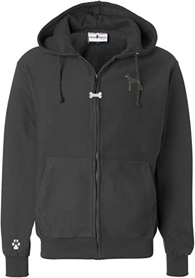 YourBreed Clothing Company Schnauzer Mens Full Zip Hooded Sweatshirt with Embroidered /& Bone Zipper Pull