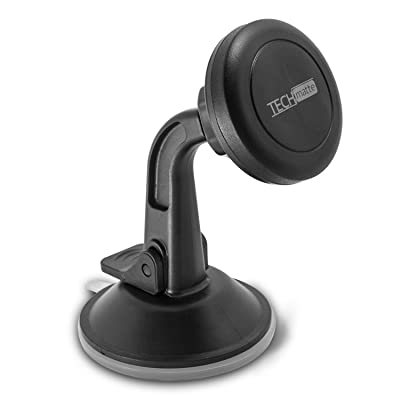 TechMatte Car Phone Mount Magnetic-Dashboard Mounted Car Phone Holder-Universal Smartphone Compatibility with Strong Magnetic Technology (Black)