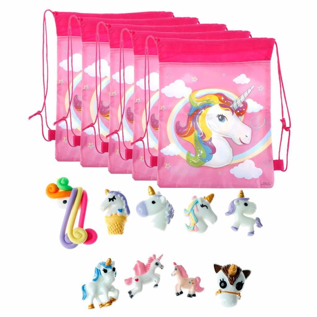 BraveWind 15 PCS/SET Mixed Resin Unicorn Flatback Cabochon Unicorn Drawstring Storage Bag for DIY Scrapbooking Kid Birthday Party Wedding Graduation Decor Surging Waves