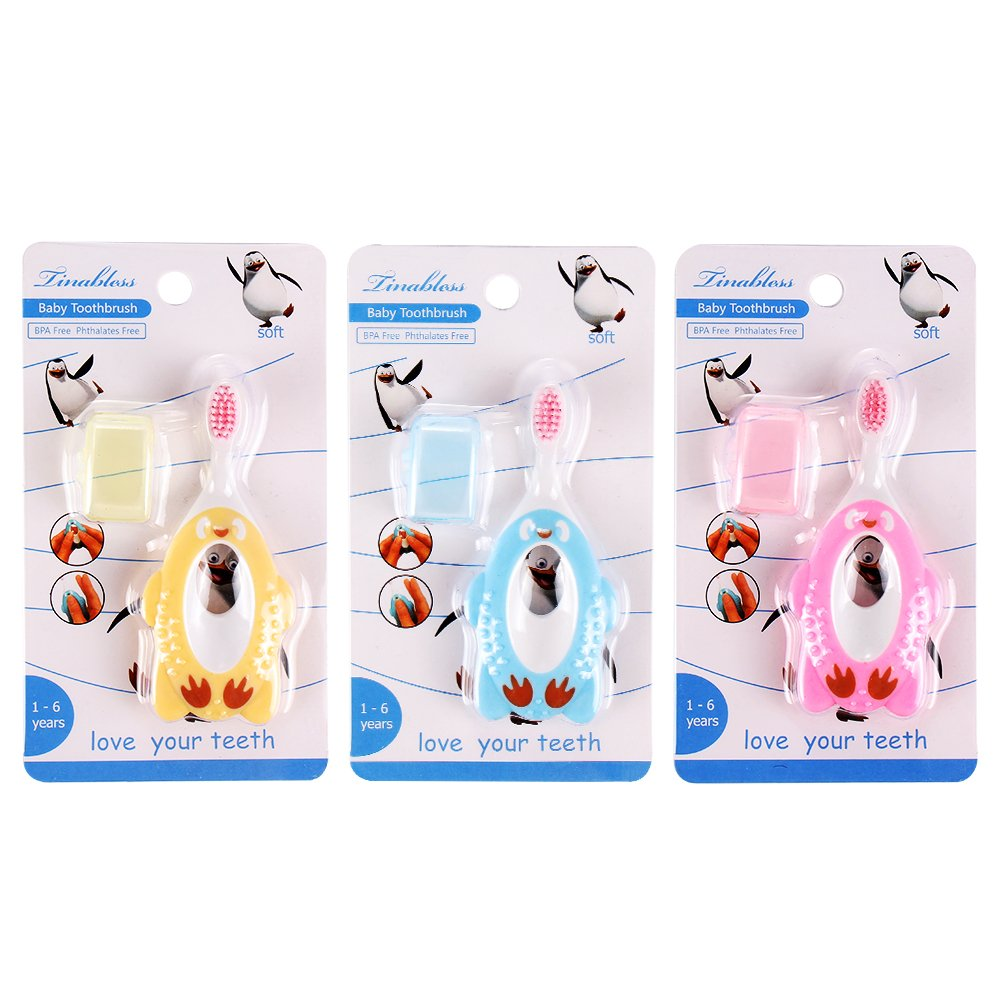 Baby Toothbrush, Tinabless Toothbrush Set for Infant,Toddlers and Kids, Soft Bristles BPA-Free Training Teether (3 Pack)