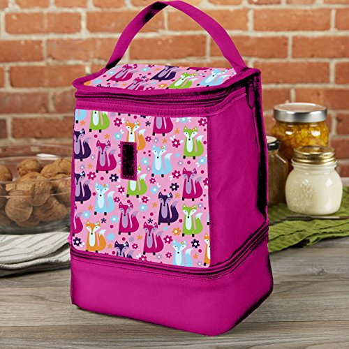 Fit & Fresh Kids' Allie Insulated Lunch Bag with Dual Zippered Compartments, Versatile Lunch Box for Girls, Pink Foxy Meadow Meadow Lunch Box