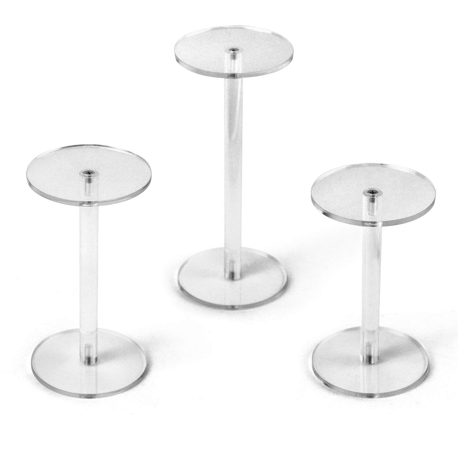 QWORK Round Acrylic Display Stand, Premium Clear Round Riser Stands, Set of 3