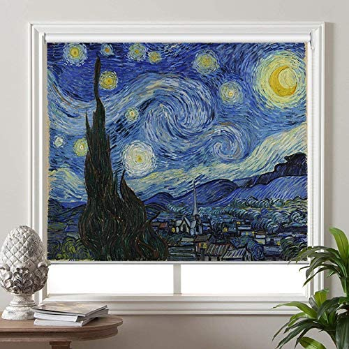 PASSENGER PIGEON Blackout Window Shades, The Starry Night, by Vincent Van Goah, Premium UV Protection Custom Roller Blinds, 69 W x 36 L