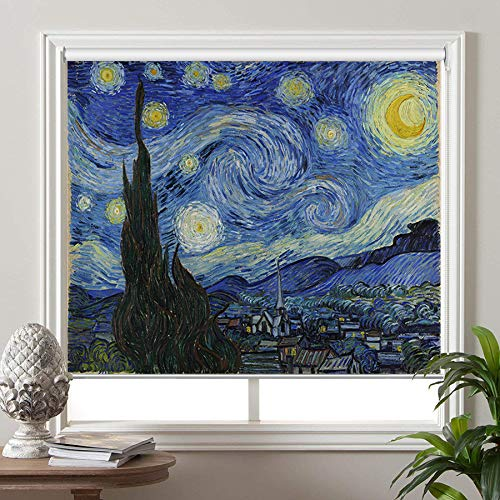 PASSENGER PIGEON Blackout Window Shades, The Starry Night Vincent Van Goah, Premium UV Protection Custom Roller Blinds, 32