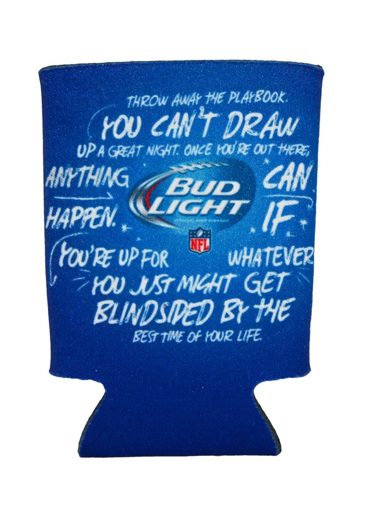 Bud Light Can Bottle Cooler Football Neoprene