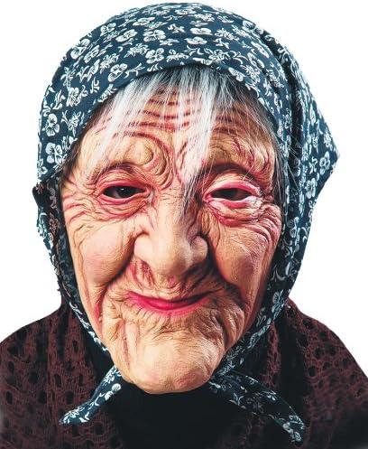 Carnival Toys 1657 Maske Alte Frau mit Kopftuch braun