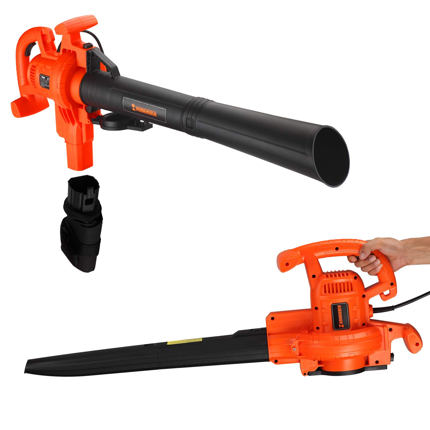 I-Choice 3 IN 1 Electric Corded Leaf Blower, Vacuum and Mulcher with 12 AMP Motor, High Performance Variable Speed Yard Cleaner with Mulch Bag, 210 MPH