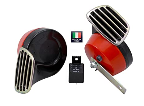 RED Black Twin TRUMPET SNAIL High/Low Tone 12v Volt Electromagnetic Loud Dual Replacement HORNS