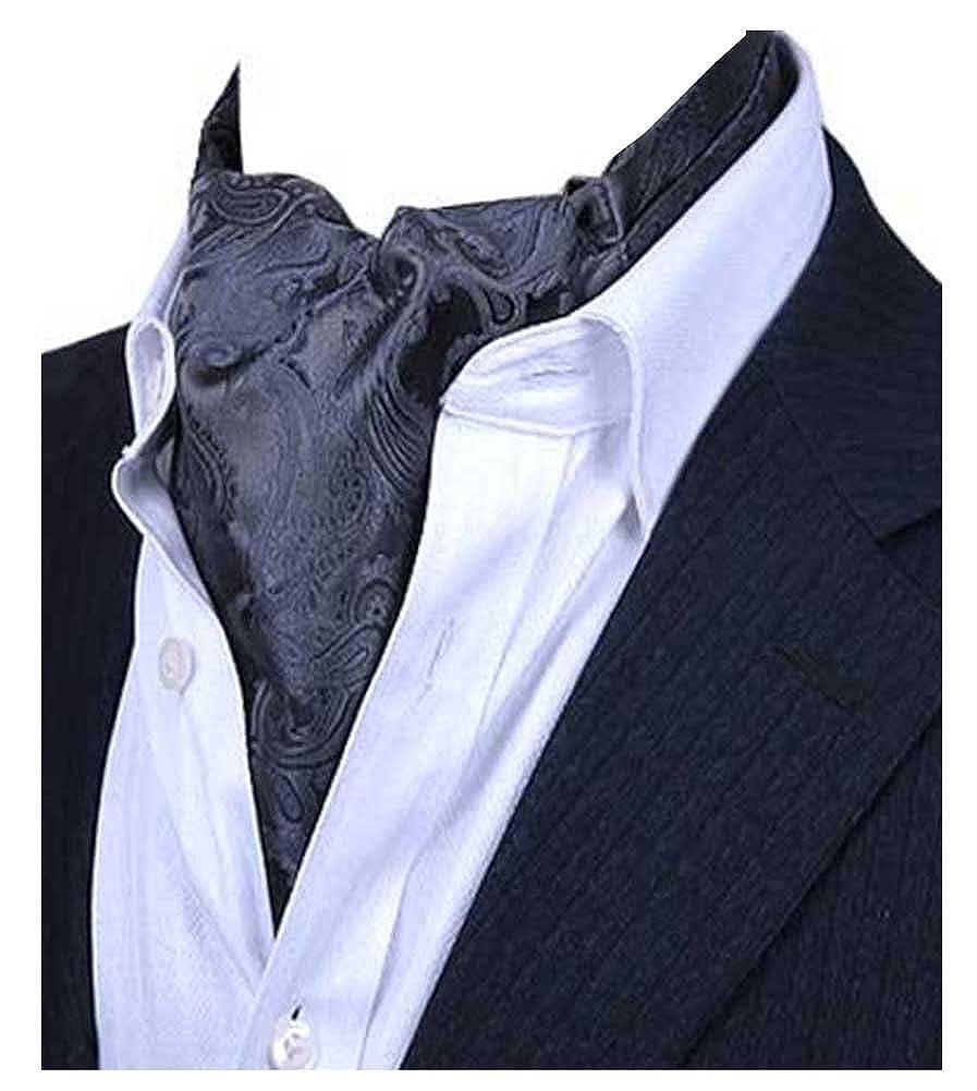 L04BABY Men's Pasily Black Floral Silk Cravat Ties Jacquard Woven Ascot LINGJINA201723