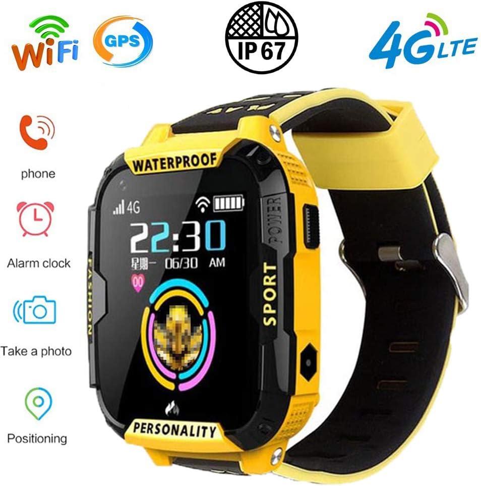 PUKEFNU Relojes Inteligentes para niños 4G WiFi GPS a Prueba de Agua Deportes de Smart Watch SOS de Seguimiento de localización Al Robot de Voz Linterna Anti-perdida HD para Android y el iOS,Yl
