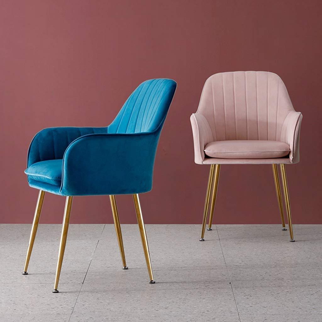 LH Accent matsalsstol soffa fåtölj elegant sammet mellanrygg stöd modern fritid stoppad stol för vardagsrum fritidsstolar för sovrum BLÅ BLÅ