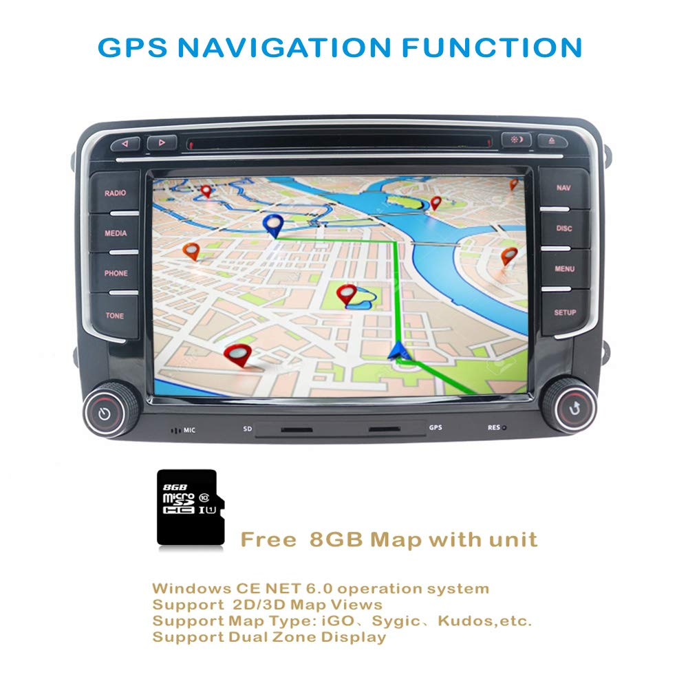 Amazon.com: Hotaudio Car Stereo GPS Navigator for VW, Double Din Head Unit 7 Inch 2 Din Car Stereo with DVD CD Player Support GPS, USB SD, FM AM RDS, ...