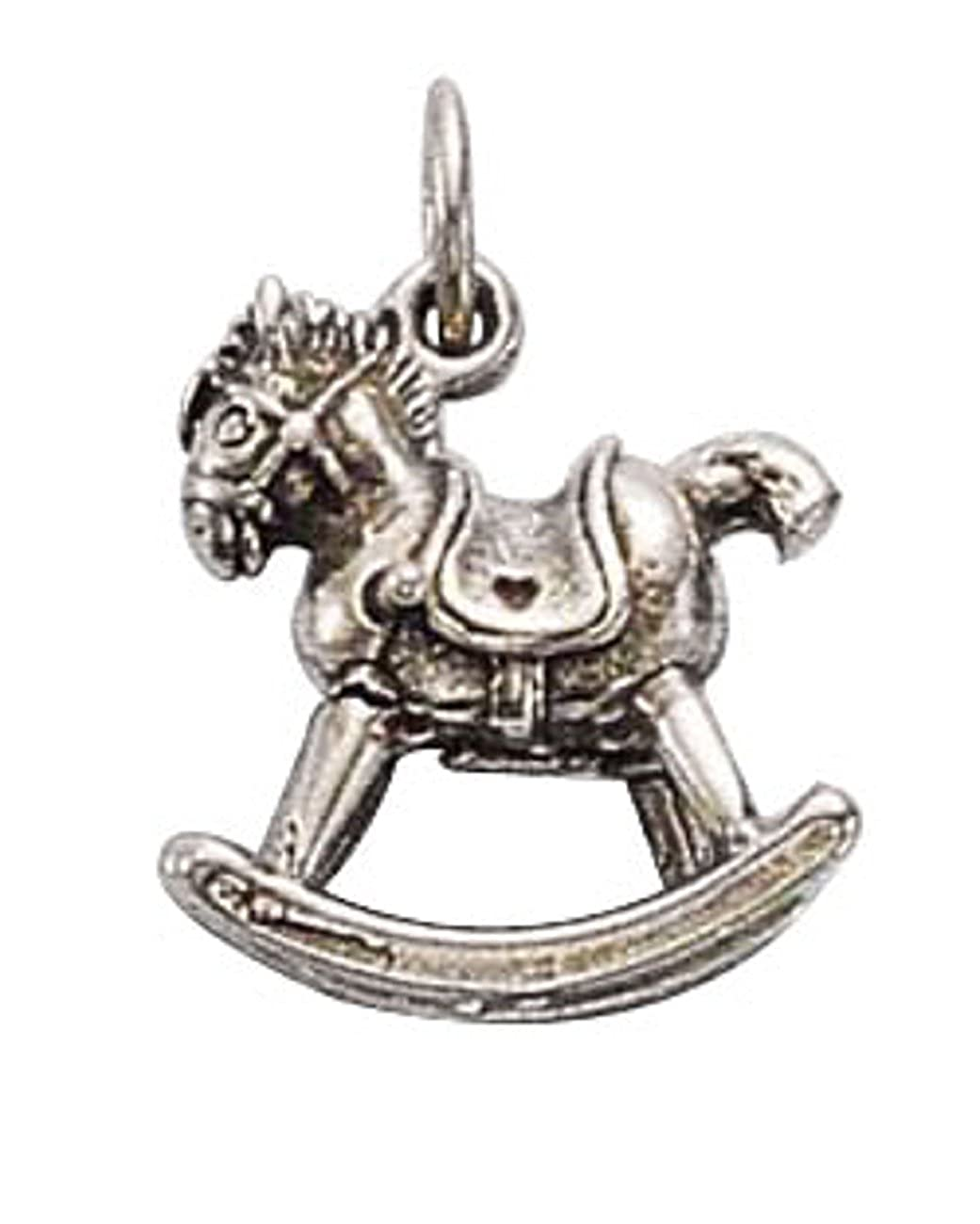Sterling Silver Girls .8mm Box Chain Childs Rocking Horse Pendant Necklace