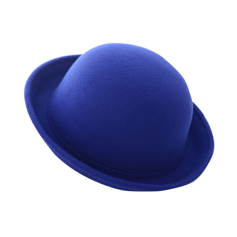 266d0948fc6 Amazon.com  Women Fashion Vintage Bowler Hats Nice Roll Brim Derby Fedora  Dome Cap Blue  Clothing