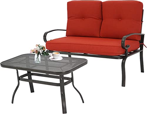 Incbruce Outdoor Patio Furniture Loveseat 2-Piece and Bistro Coffee Table Set Furniture Bench with Cushion, Lawn Front Porch Garden, Steel Frame, Red