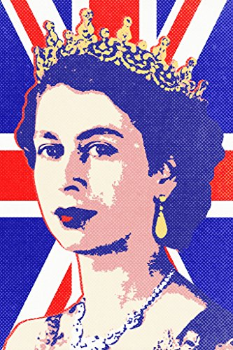 (Queen Elizabeth II Union Jack Pop Art Print Poster 12x18 inch)
