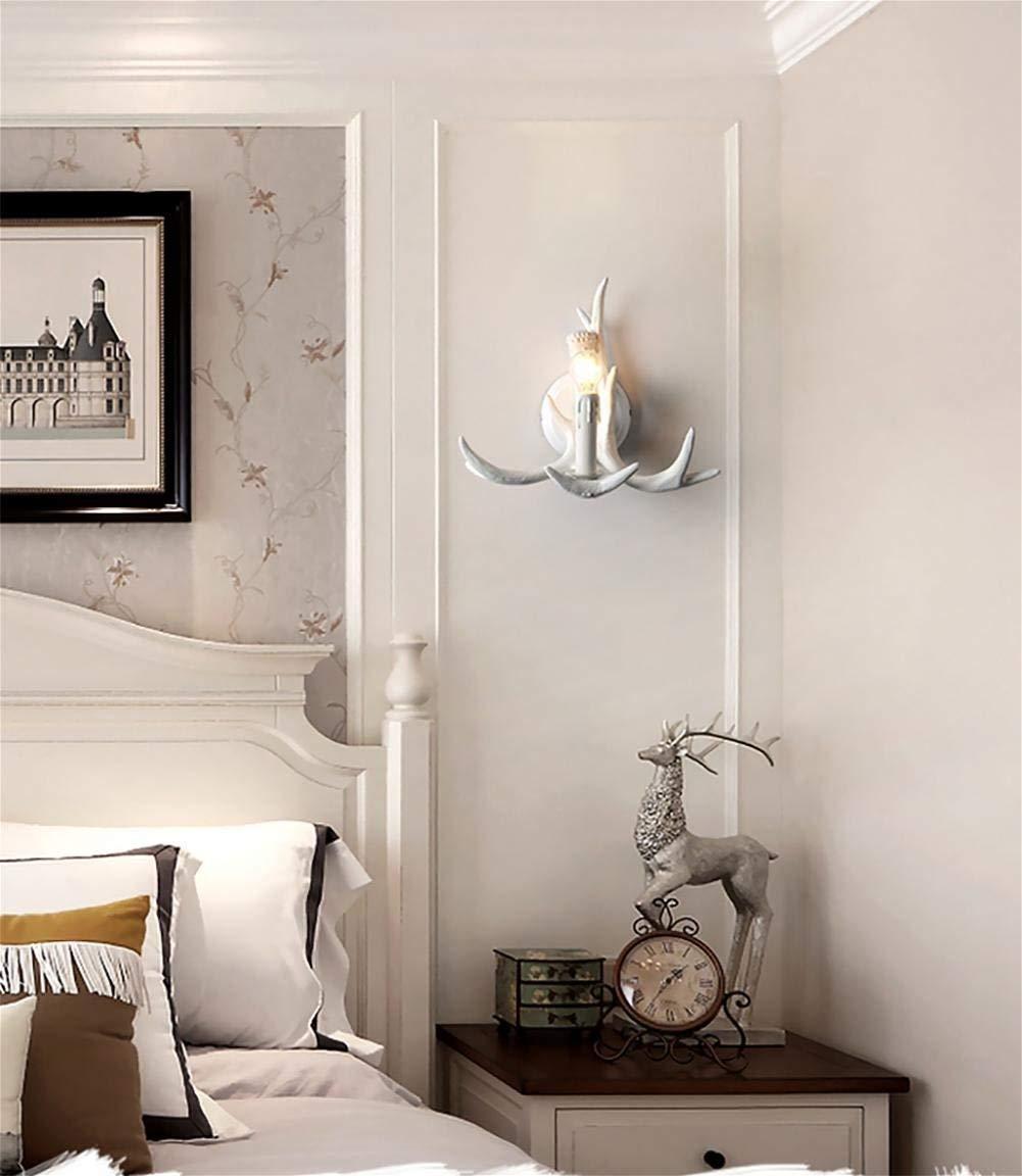 Eeayyygch Wandleuchten American Style Geweih Dekorative Harz Nachttischlampe Wandleuchte für DIY Home Decor ALS Geschenk enthalten weiß (Farbe   A, Größe   -)