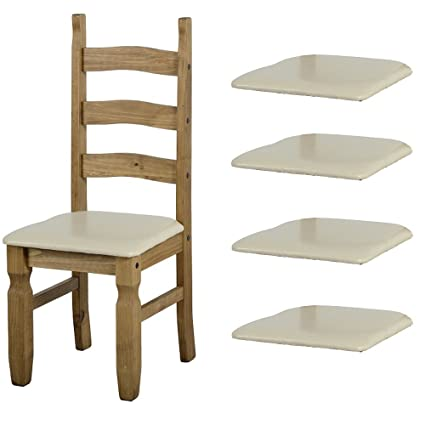 Admirable Set Of 4 Cream Faux Leather Seat Pads For Corona Dining Chairs Beatyapartments Chair Design Images Beatyapartmentscom