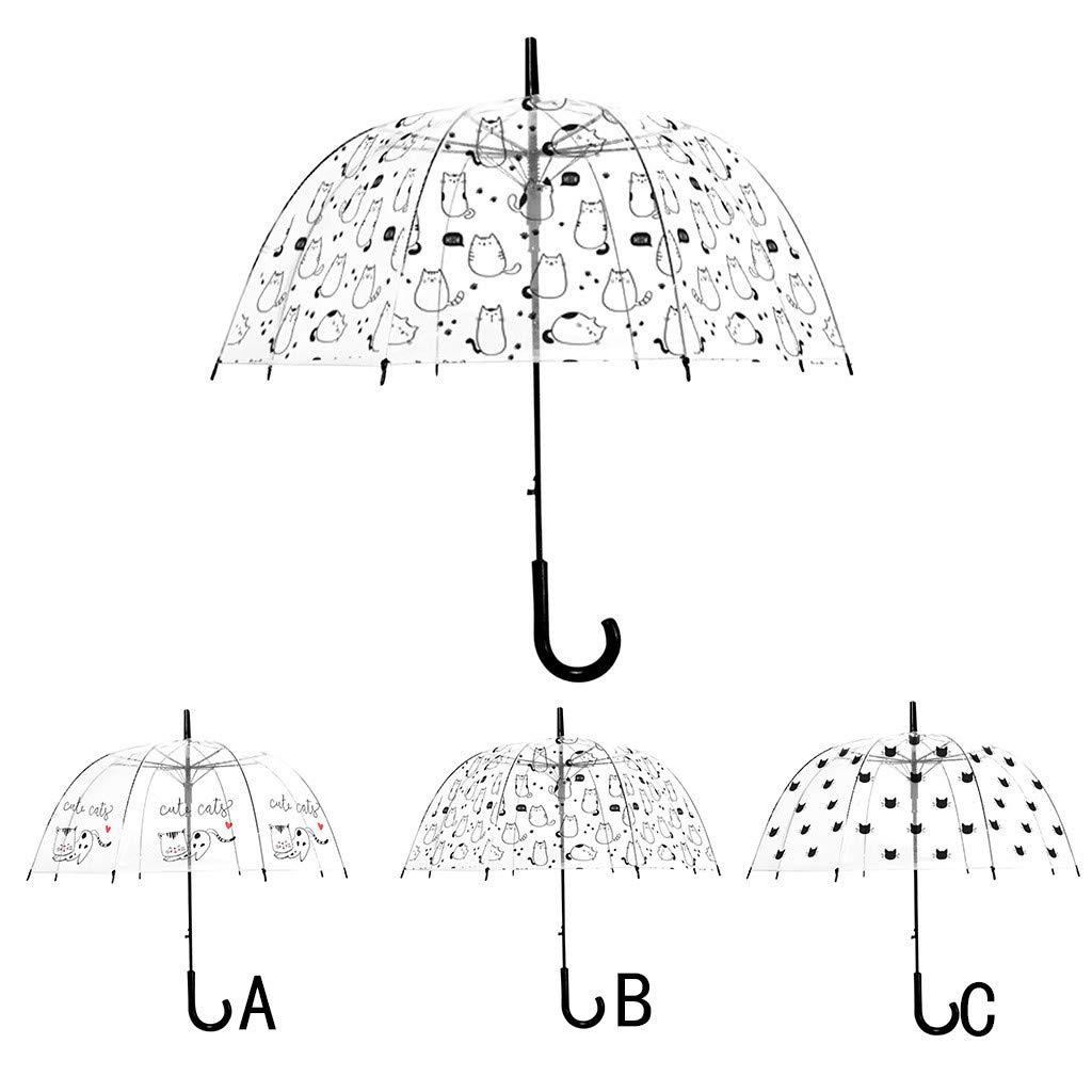 Clear Bubble Umbrella Windproof Rainproof Cute Cat Dome Umbrella Long Handle Auto Open Transparent Rain Umbrella for Adults Kids Girls (C) by Codiak-Outdoor (Image #2)