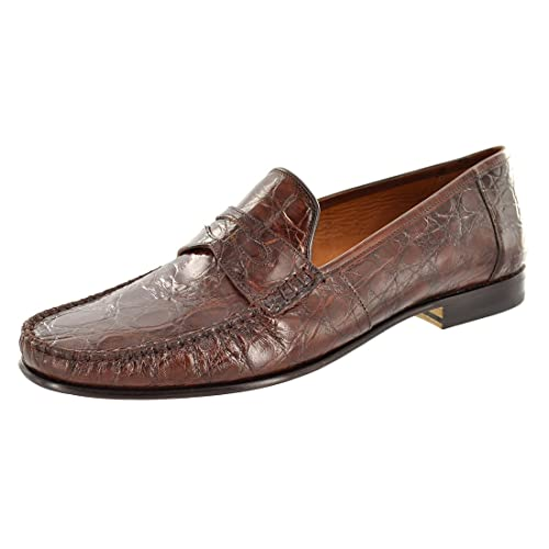 f5cba841d00 Mezlan Men s Shoes Genuine Crocodile Penny Loafer 7091 8.5 M Brown