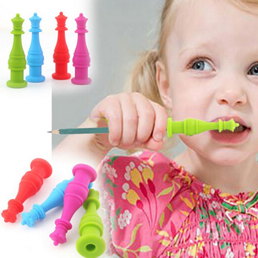 Enfant Embouts de Crayon Yuccer S/écurit/é Enfant 4 Pi/èces Silicone Jouets M/âcher Jouet Anti Stress Pencil Toppers Bleu+Vert+Rouge+Rose