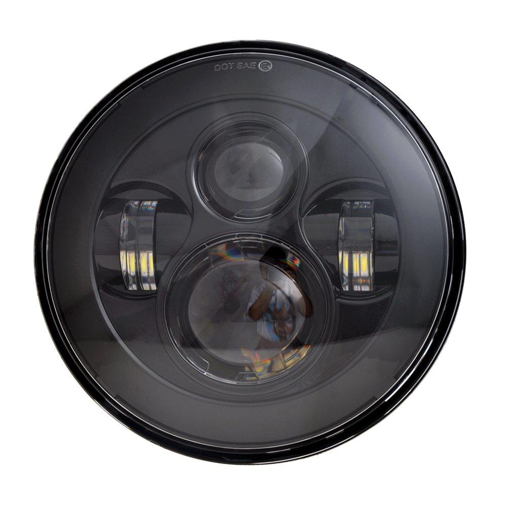 Dot Approved 7 Black Led Headlights 4 Cree Fog Wiring Besides Traffic Signal Light On Old Lights For Jeep Wrangler 97 2017 Jk Tj Lj Automotive