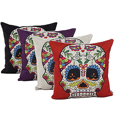 Decorbox 4 PCS 18'' Retro Colorful Floral Mexican Day of the Dead Sugar Skull Accent Cotton Linen Pillow Cushion Covers Pillows Case Cushions Cases Decorative Pillowcases Pack of 4 (18x18 Inches)
